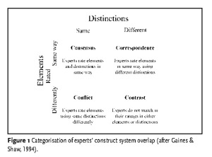 Figure 1 – Categorisation of experts' construct system overlap (after Gaines & Shaw, 1994)
