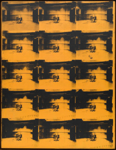 Andy Warhol, Orange Disaster, 1963, acrylverf op zeefdruk, 269 x 207 cm.