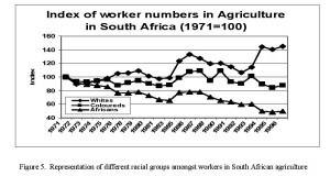Figure 5.  Representation of different racial groups amongst workers in South African agriculture