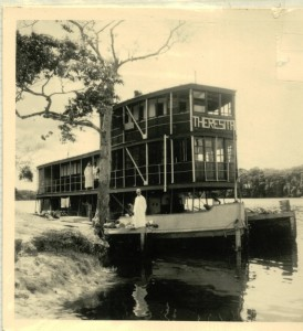 The river steamer Theresita, property of the MSC missionaries in the Congo and used by Graham Greene in 1959 to move from one mission station to another. Photo reproduced with permission from R. Vanderslaghmolen.