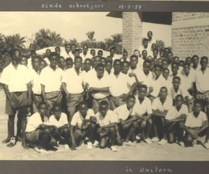 Class photo of the highest class of the boys' school in Bokuma, 1959. MSC Borgerhout Collection