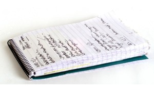 notepad with handwriting