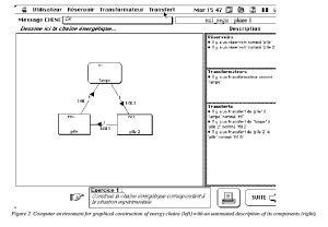 Figure 2 - Computer environment for graphical construction of energy chains (left) with an automated description of its components (right).