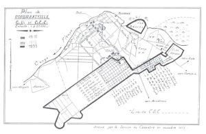 Plan of Coquilhatville, centre urbain et centre extra coutumier, made by the land registry department. From De Meulder, B. (1994), vol. 2.1. illustration 7.33.