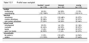 Tabel 13.1 Profiel naar werkplek