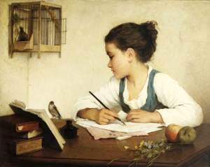 Henriette Browne - A Girl Writing