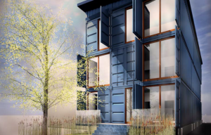 Rendering of the container condo headed to Newark (Credit: C+C Architecture)
