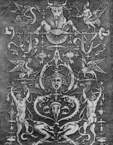Agostino Musi (detto Veneziano), Prent met grotesk, 1530.