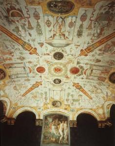 Chateau d'Ancy-le-Franc, Plafond met decoratie van grotesken in de Salle de Diana, 1574.