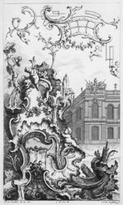 François Cuvilliés, Ornamentprent met rocailles, München, ca 1740.