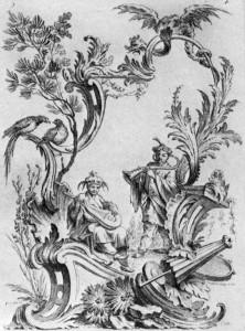 Nicolas Pineau, Ornamentprent met chinoiserie en grotesk, Parijs, 1727.