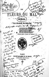De eerste druk van Les Fleurs du mal met aantekeningen van de auteur