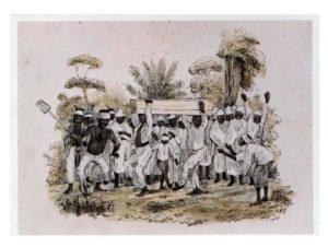 Afbeelding 3: 'Heiden begrafenis op plantaadje', 1850 (collectie KITLV, Leiden, Nederland, nr. 36 C – 339)
